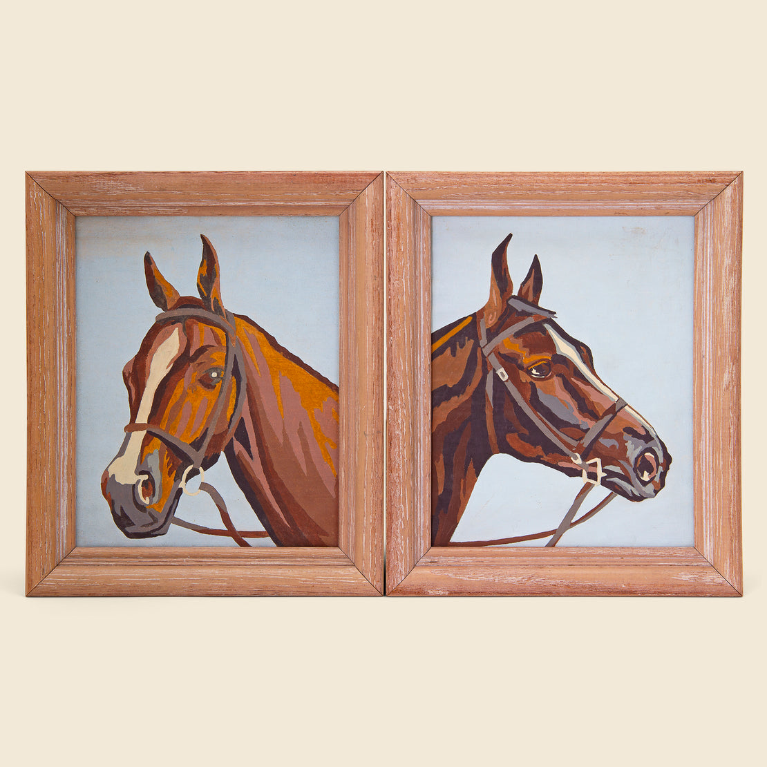 Vintage Pair of Framed Horse Paintings