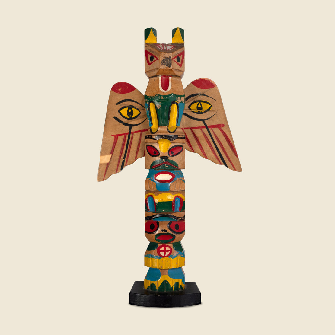Wooden Totem Pole Set of Two - Multi