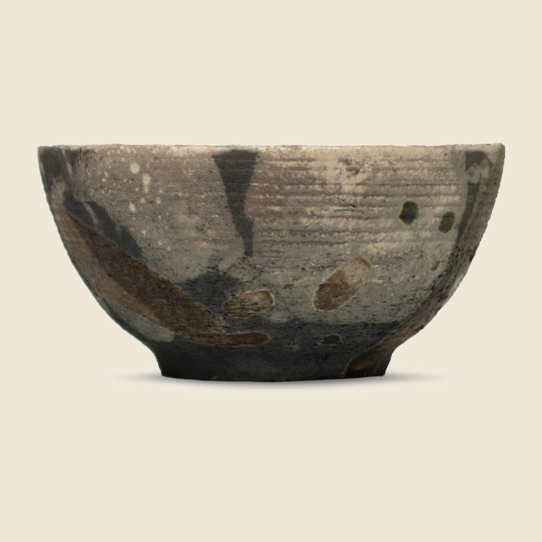 Glazed Clay Pottery Bowl - Blue/Grey/Copper