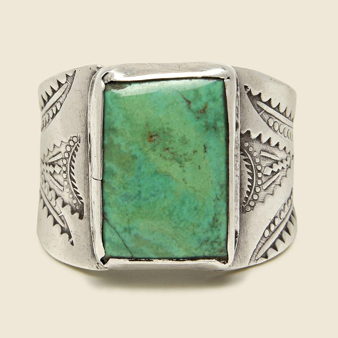 Vintage - Rectangular Turquoise & Stamped Sterling Silver Cigar Band Ring, OAD