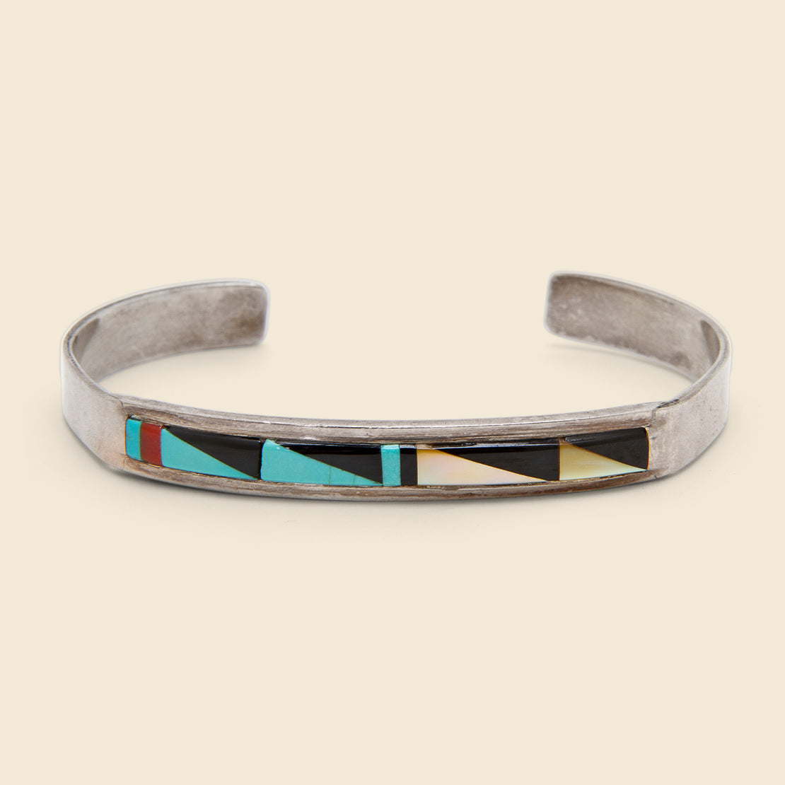 Vintage Zuni Inlay Cuff - Sterling/Turquoise/Onyx/Mother of Pearl