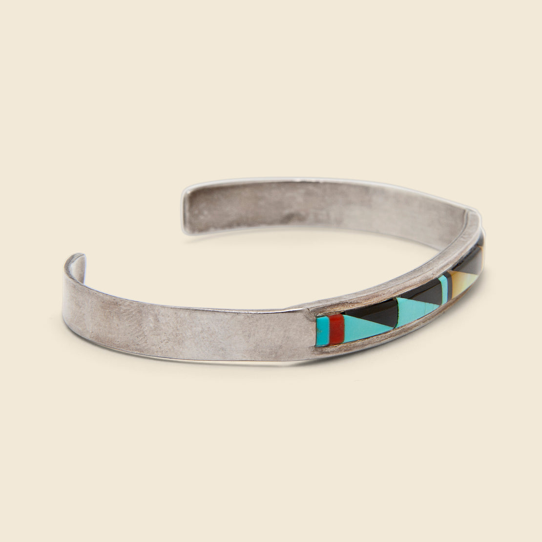 Zuni Inlay Cuff - Sterling/Turquoise/Onyx/Mother of Pearl