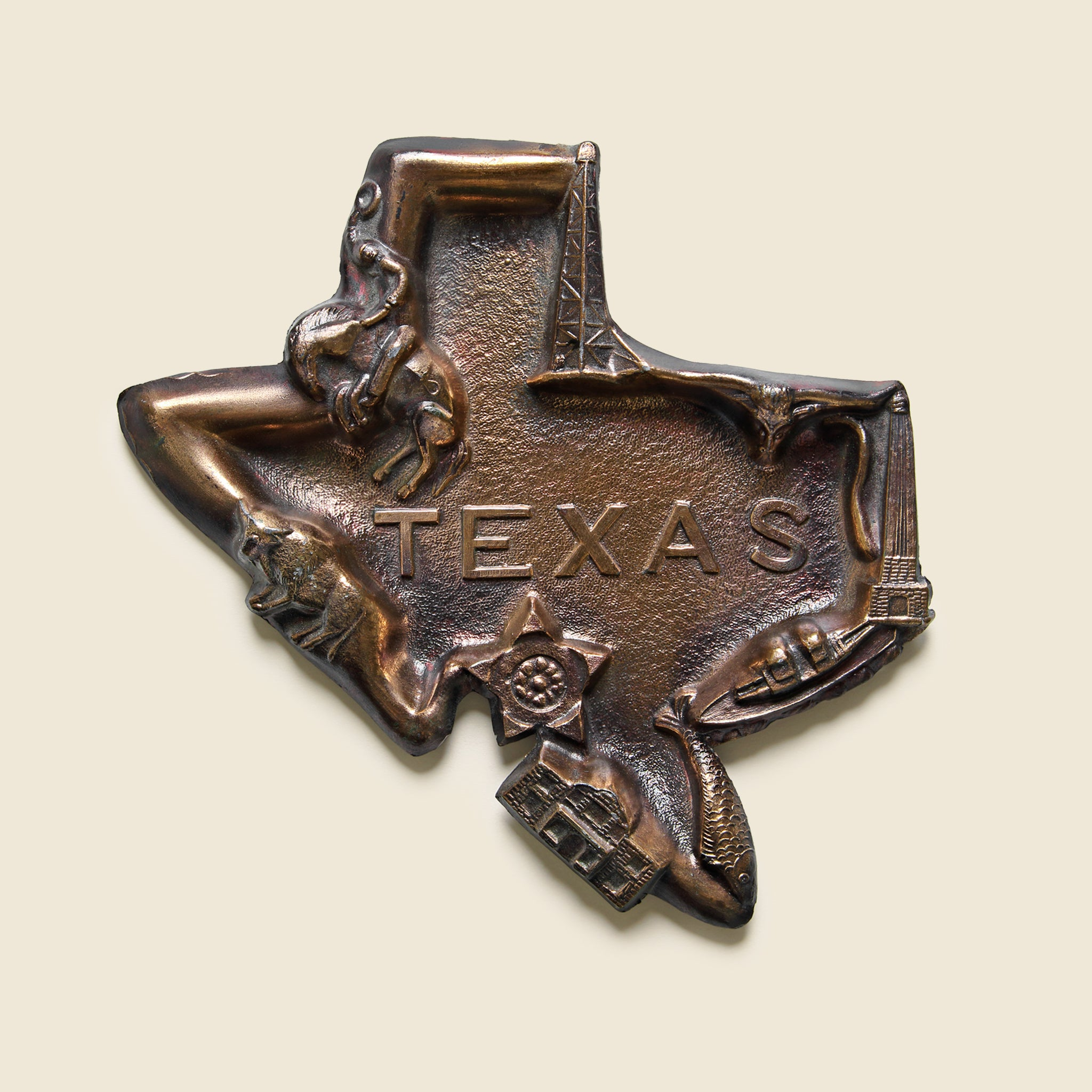 Cast Metal Texas Ashtray