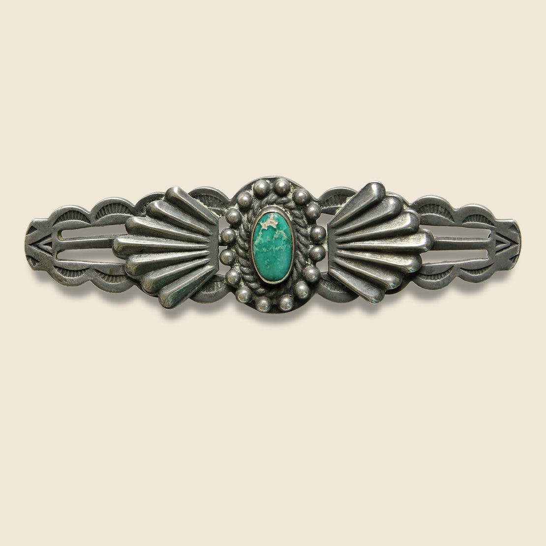 Vintage Scalloped Edge Turquoise Pin - Sterling Silver