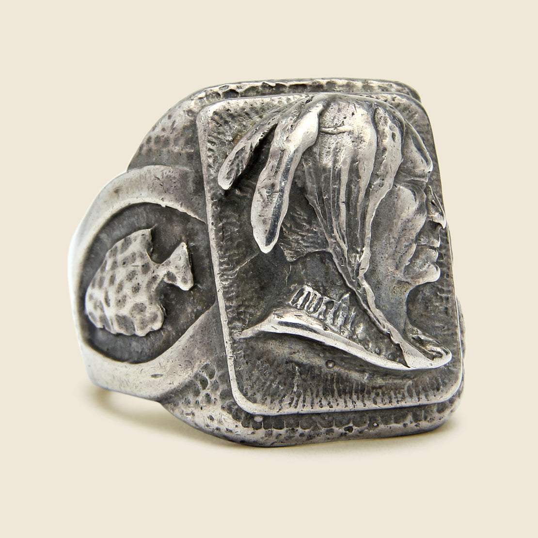 Vintage Biker Ring Native American Profile & Arrowheads - Sterling Silver