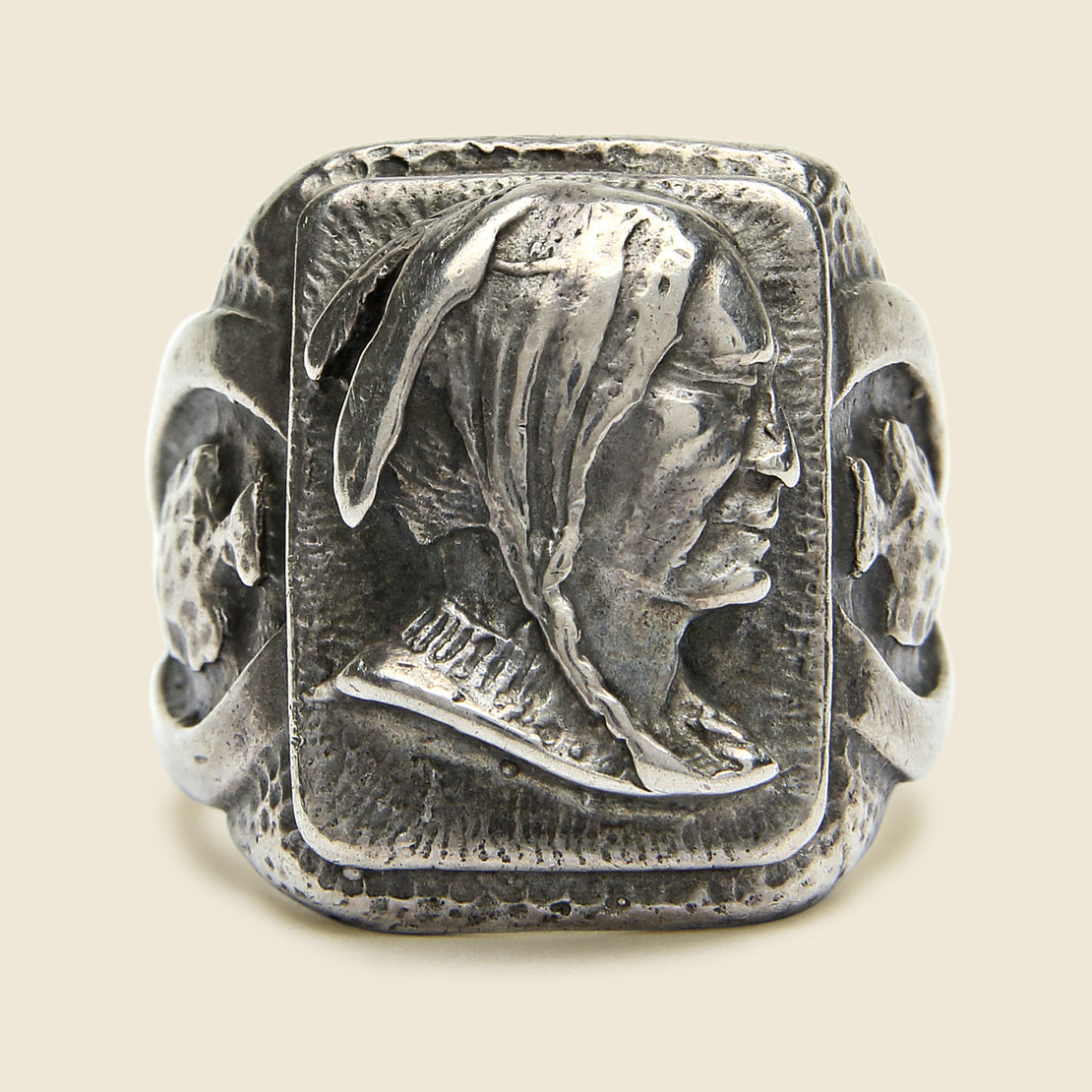 Biker Ring Native American Profile & Arrowheads - Sterling Silver