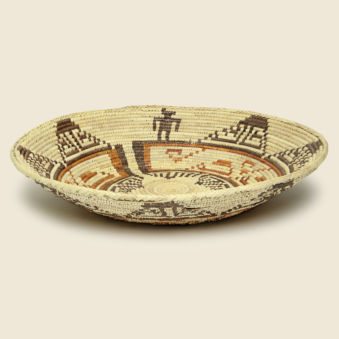 Hand-Woven Basket with Native American Motif - Brown/Red