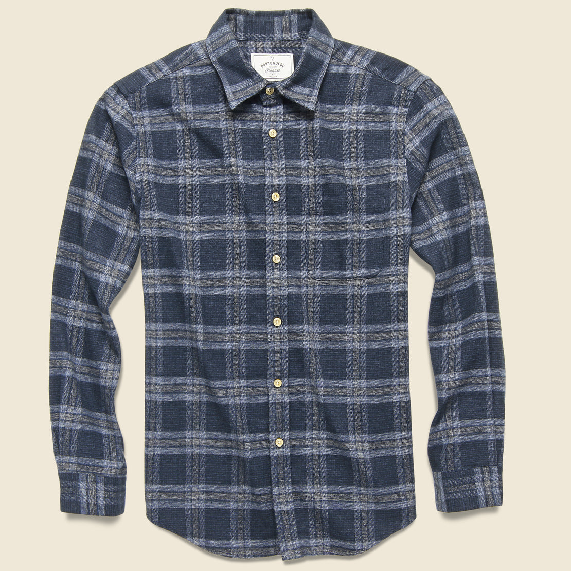 Portuguese Flannel Abstract Check Flannel - Navy/Grey