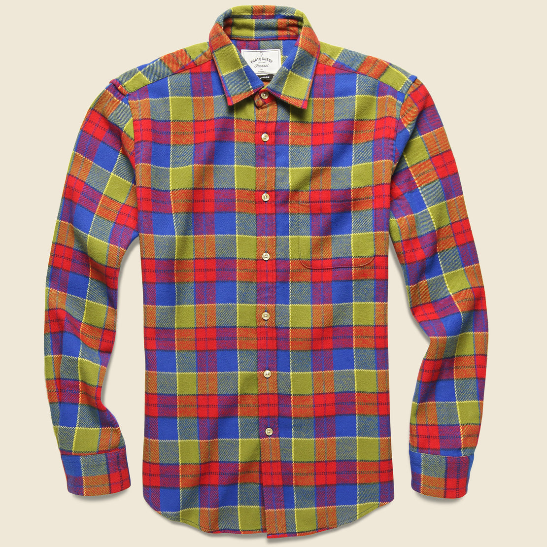 Portuguese Flannel Nebraska Check Flannel - Red/Green/Blue