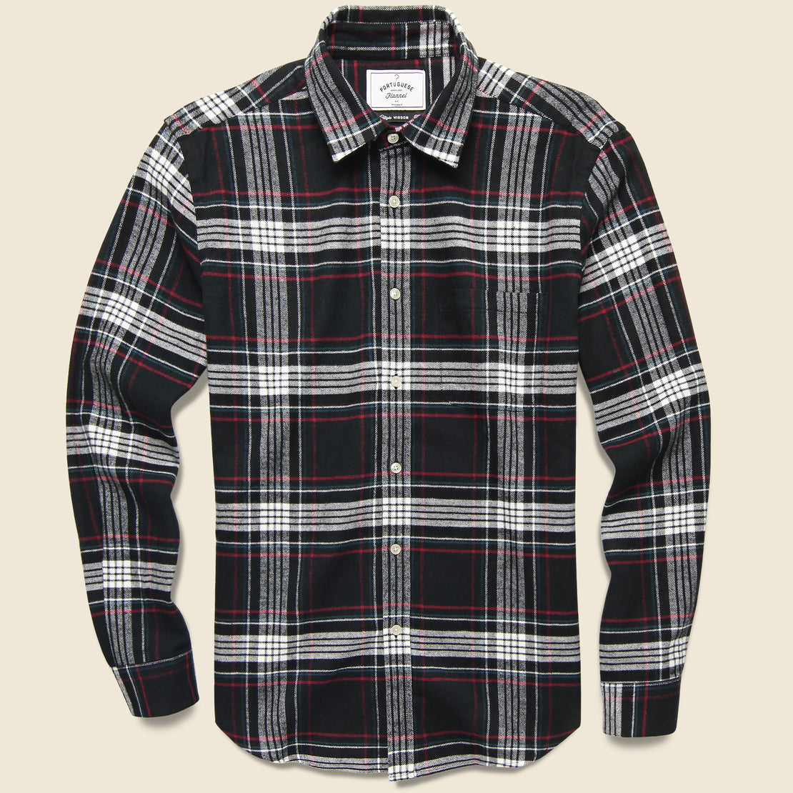 Portuguese Flannel Big Square Nazare Flannel - Black/White