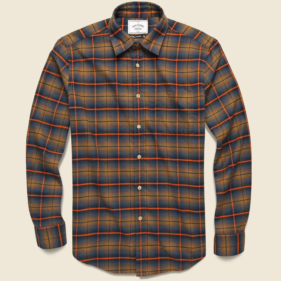 Portuguese Flannel Check Flannel - Orange