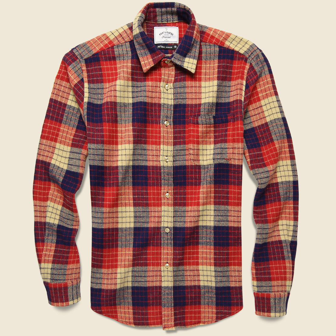 Portuguese Flannel Village Plaid Flannel - Red/White