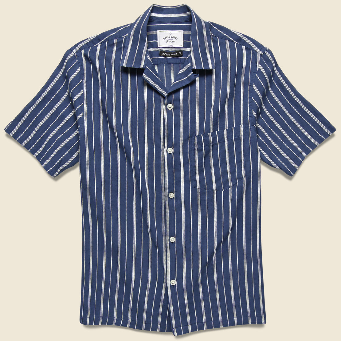Portuguese Flannel Jimmy Camp Shirt - Blue/White