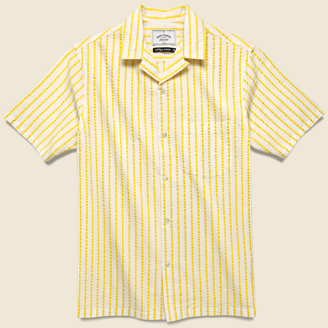 Portuguese Flannel Rayures Camp Shirt - White/Yellow
