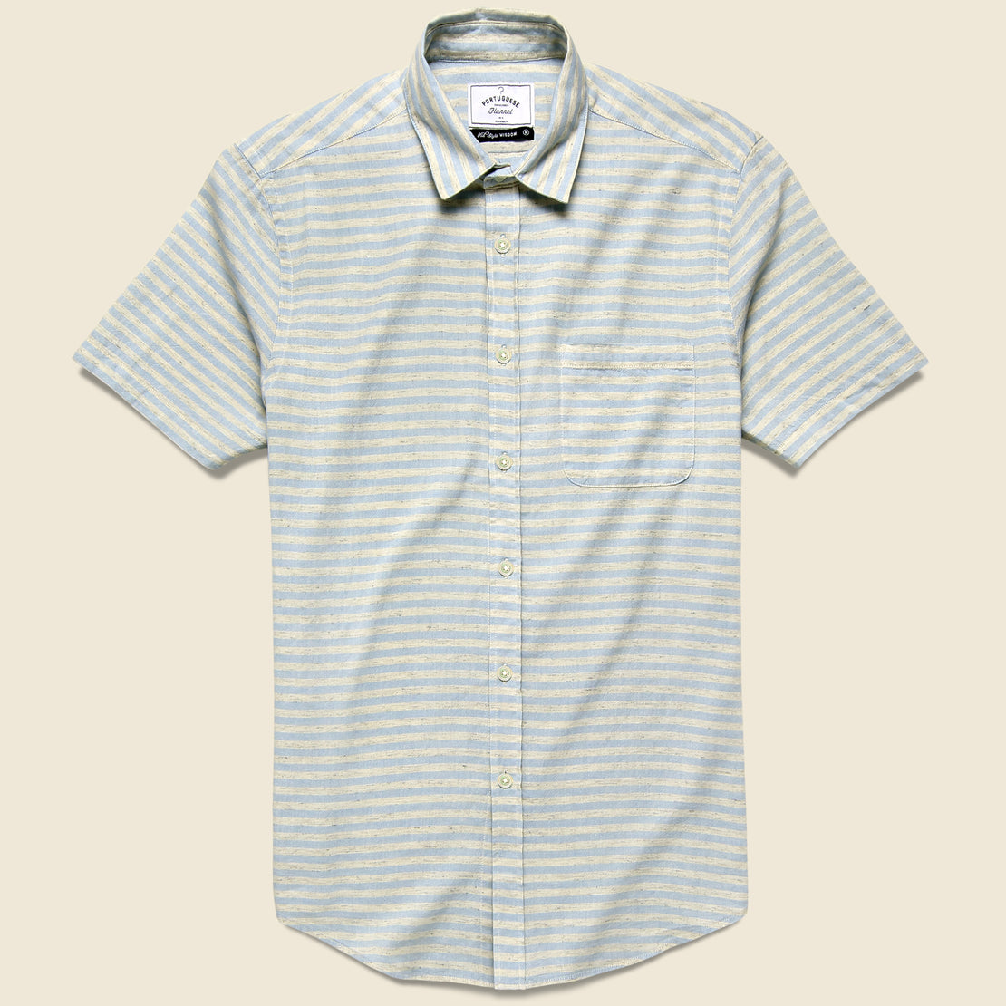Portuguese Flannel Plage Shirt - Light Blue/Grey