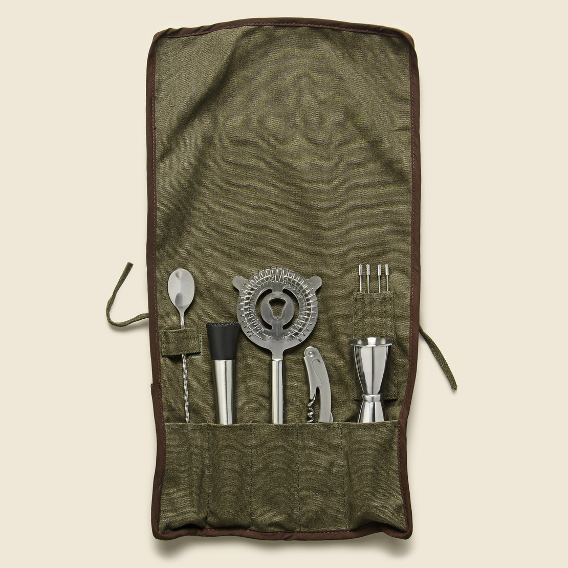 Barware Roll Up Bar Tool Set - Olive Canvas