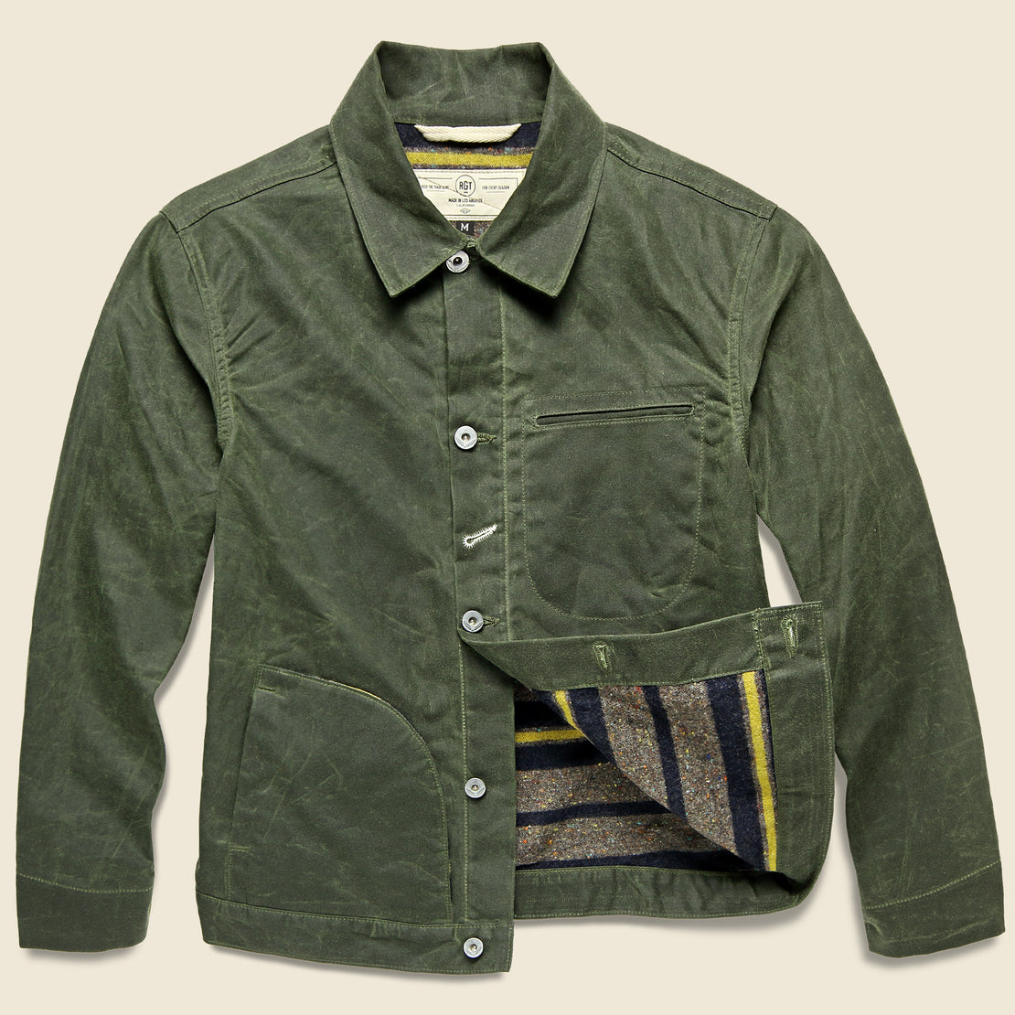 Rogue Territory Supply Jacket - Blanket Lined Waxed Olive Ridgeline