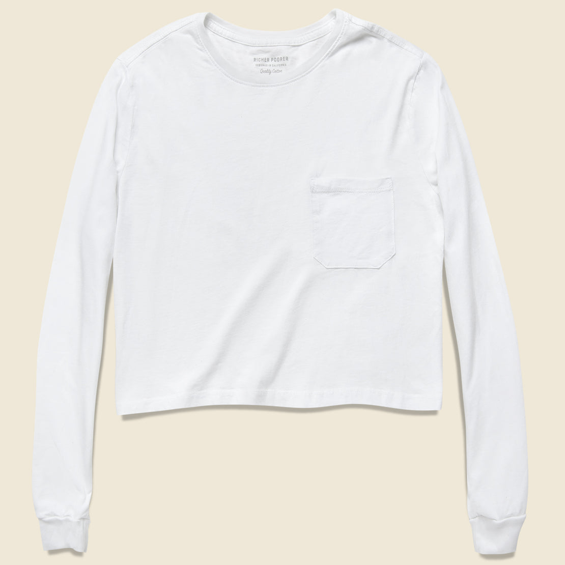Richer Poorer Long Sleeve Cropped Tee - White
