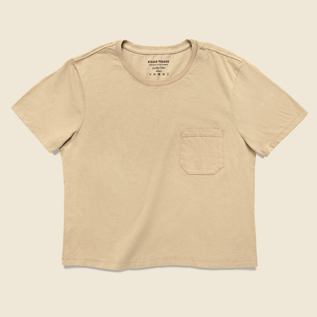 Richer Poorer Boxy Crop Tee - Tan
