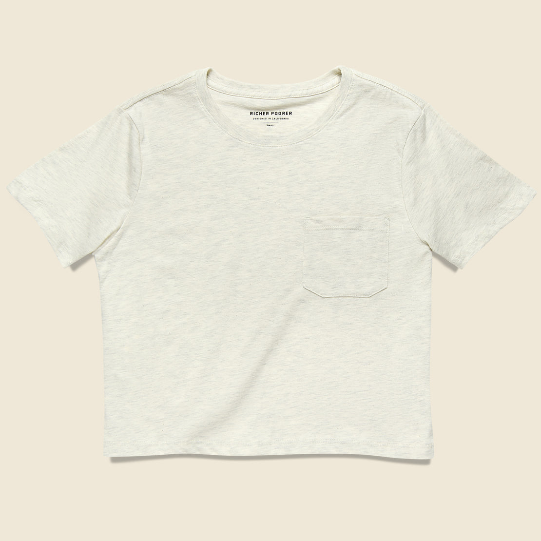 Richer Poorer Boxy Crop Tee - Oatmeal