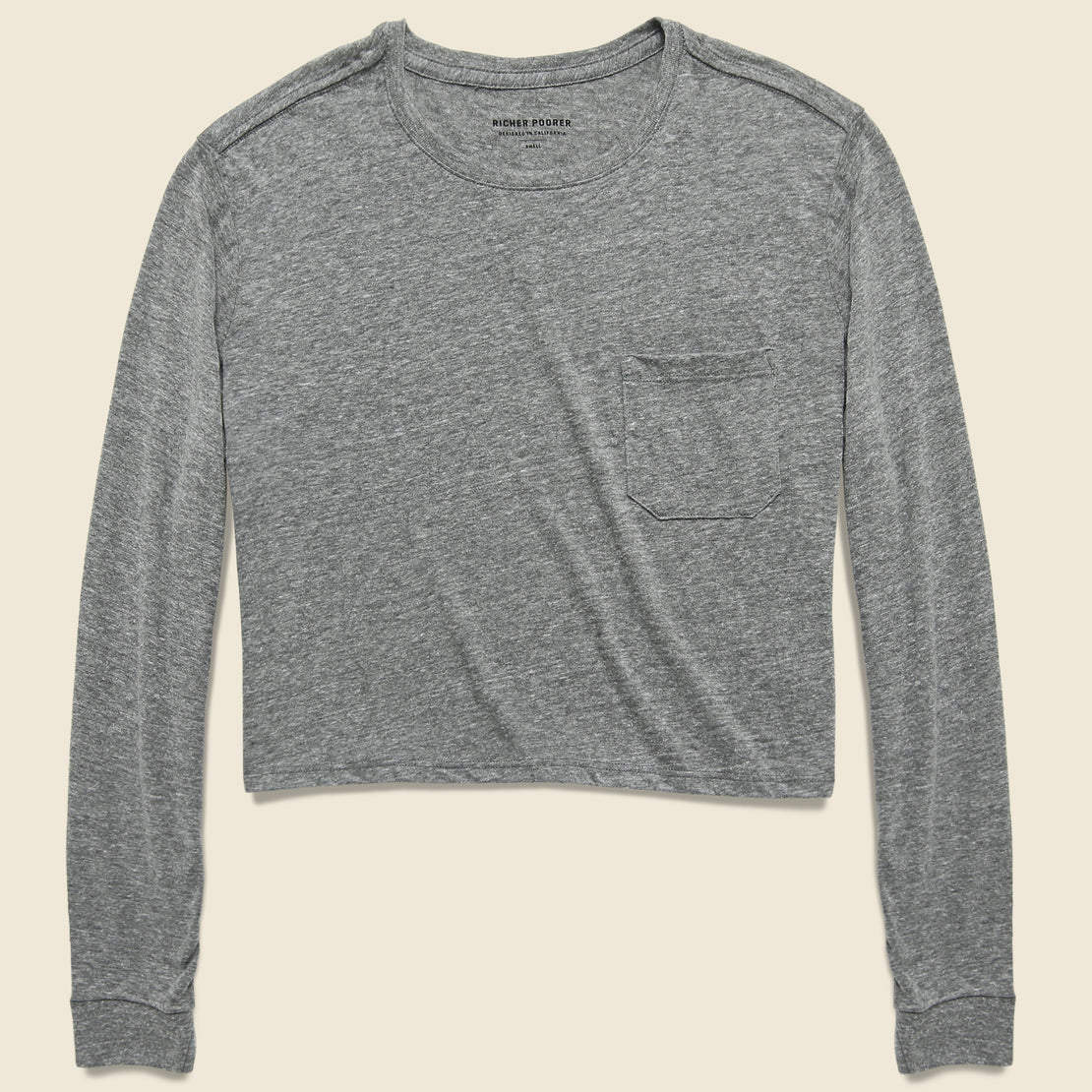 Richer Poorer Long Sleeve Cropped Tee - Heather Grey