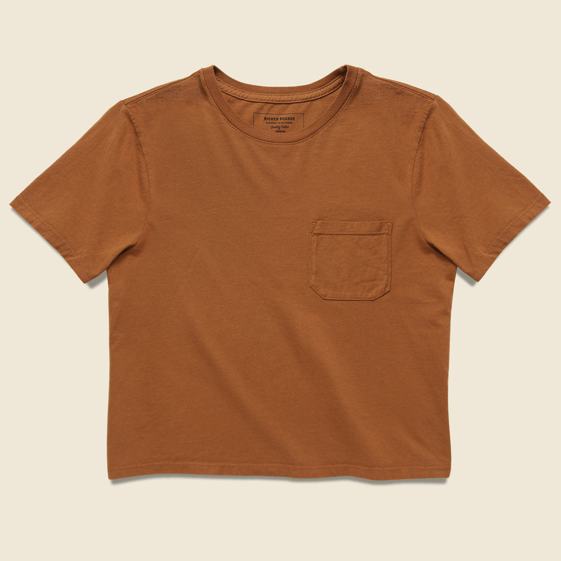 Richer Poorer Boxy Crop Tee - Tobacco