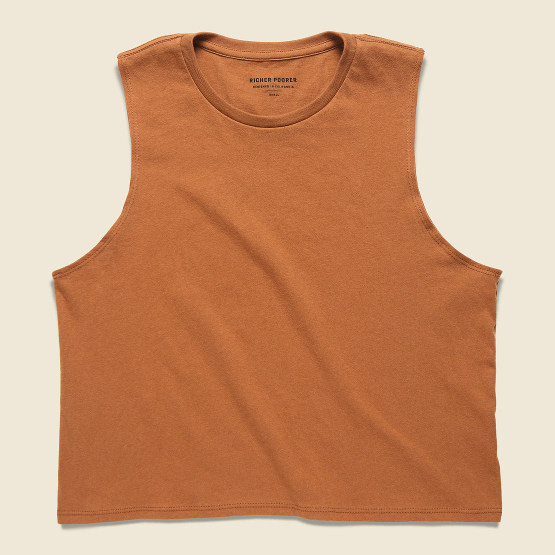 Richer Poorer Cropped Muscle Tank - Tobacco