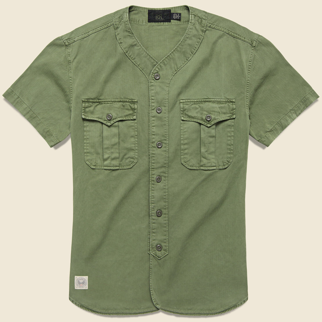 RRL Moore Herringbone Baseball Shirt - Dusty Olive