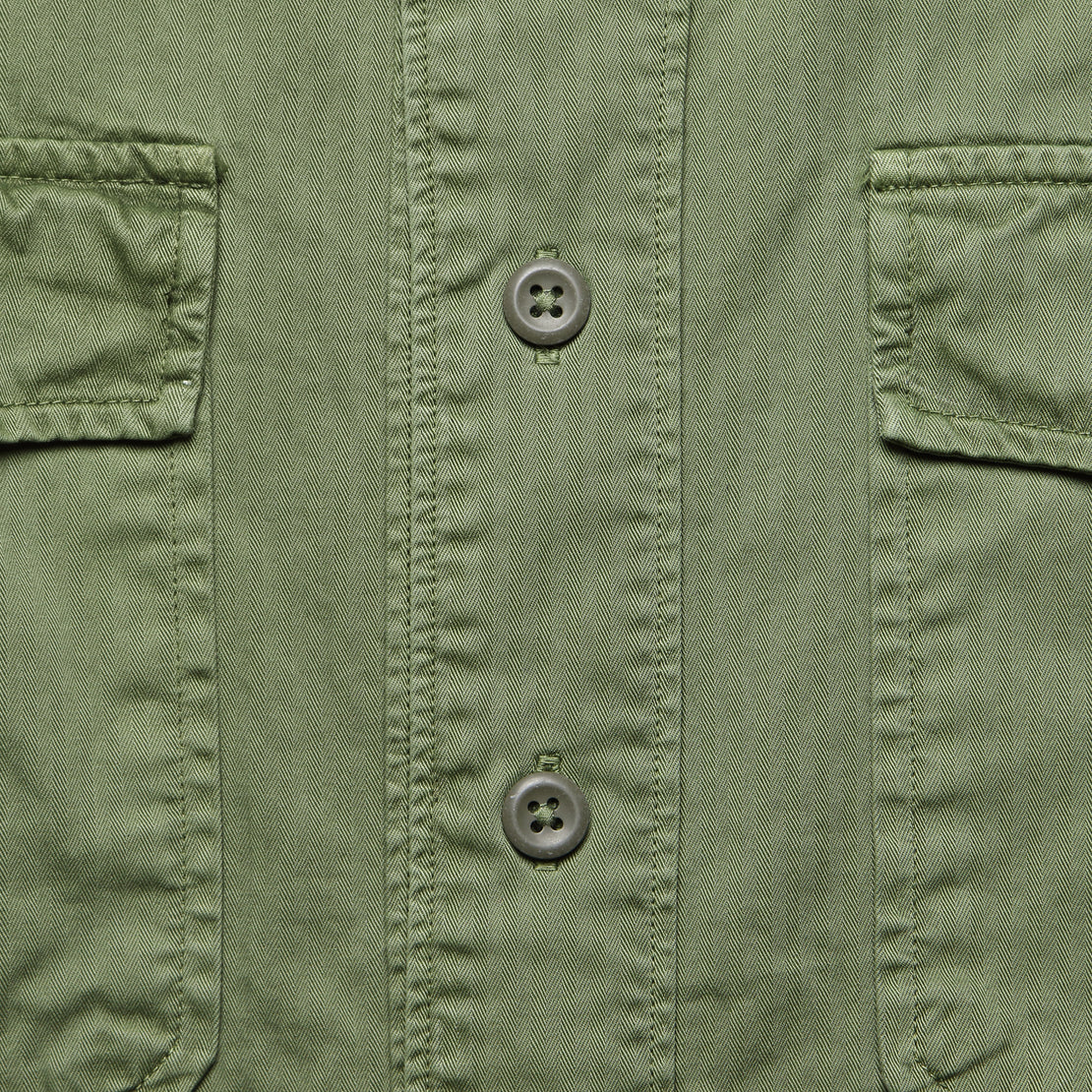 Moore Herringbone Baseball Shirt - Dusty Olive