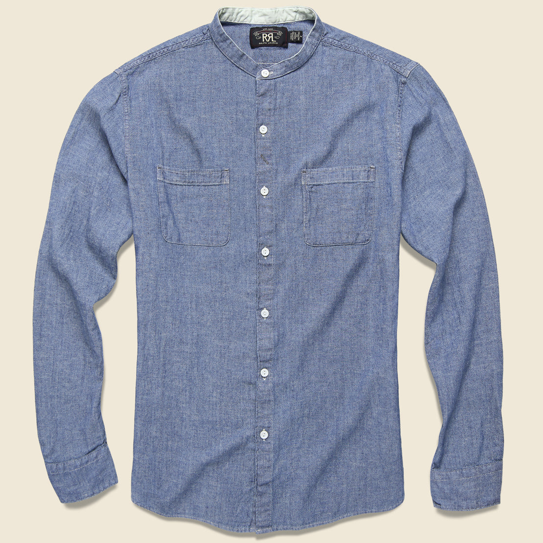 RRL Weiland Band Collar Shirt - Indigo Chambray
