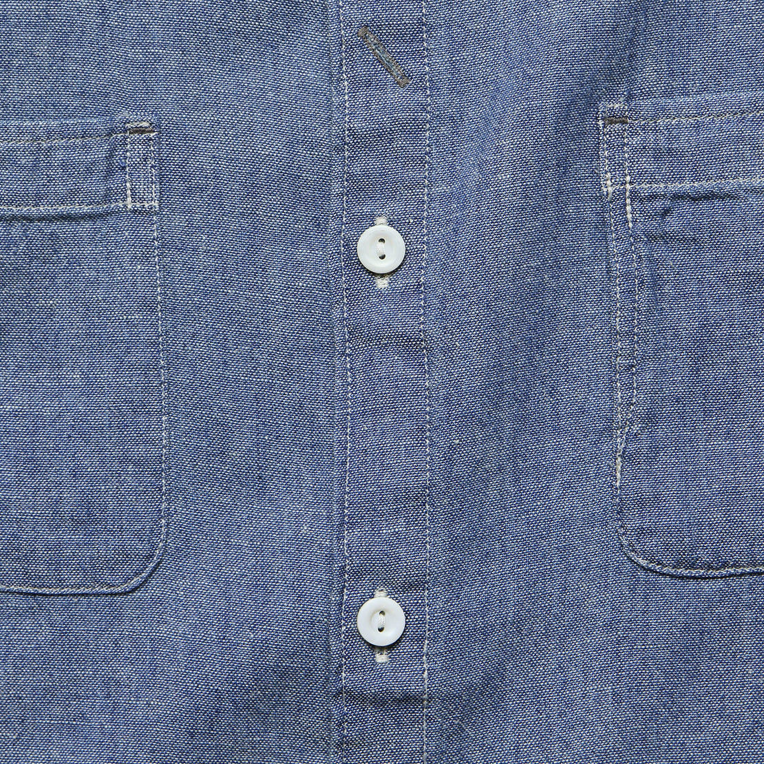 Weiland Band Collar Shirt - Indigo Chambray