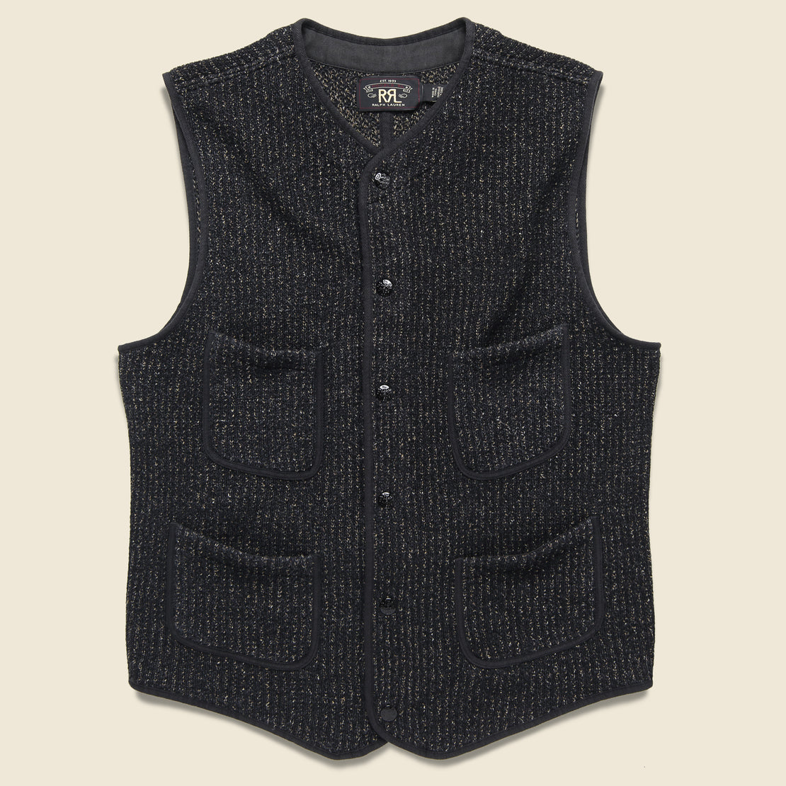 RRL Browns Beach Snap Front Vest - Black Indigo