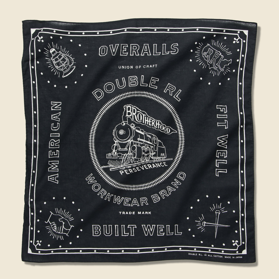 RRL Railroad Bandana - Faded Black