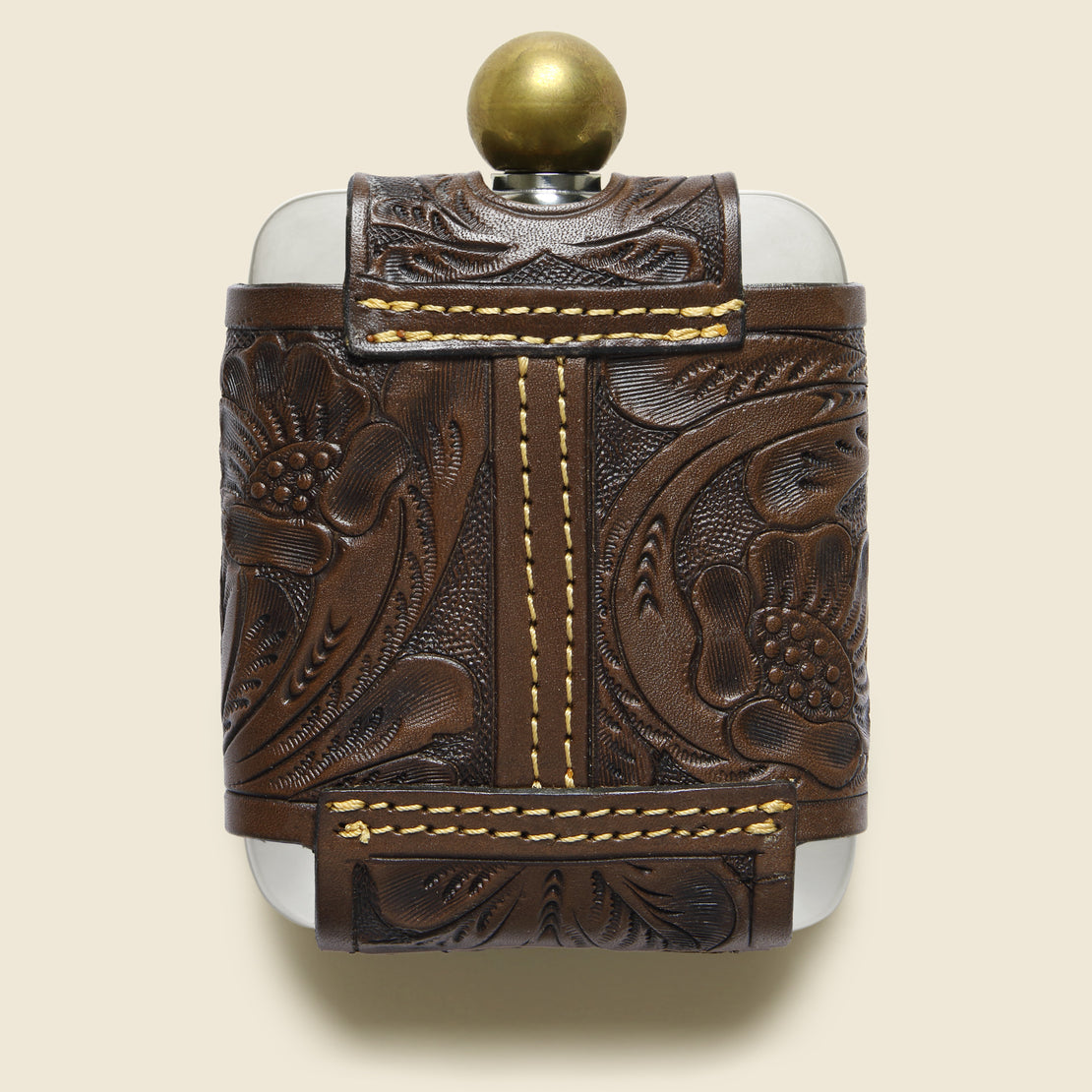 Tooled Leather Hip Flask - Brown