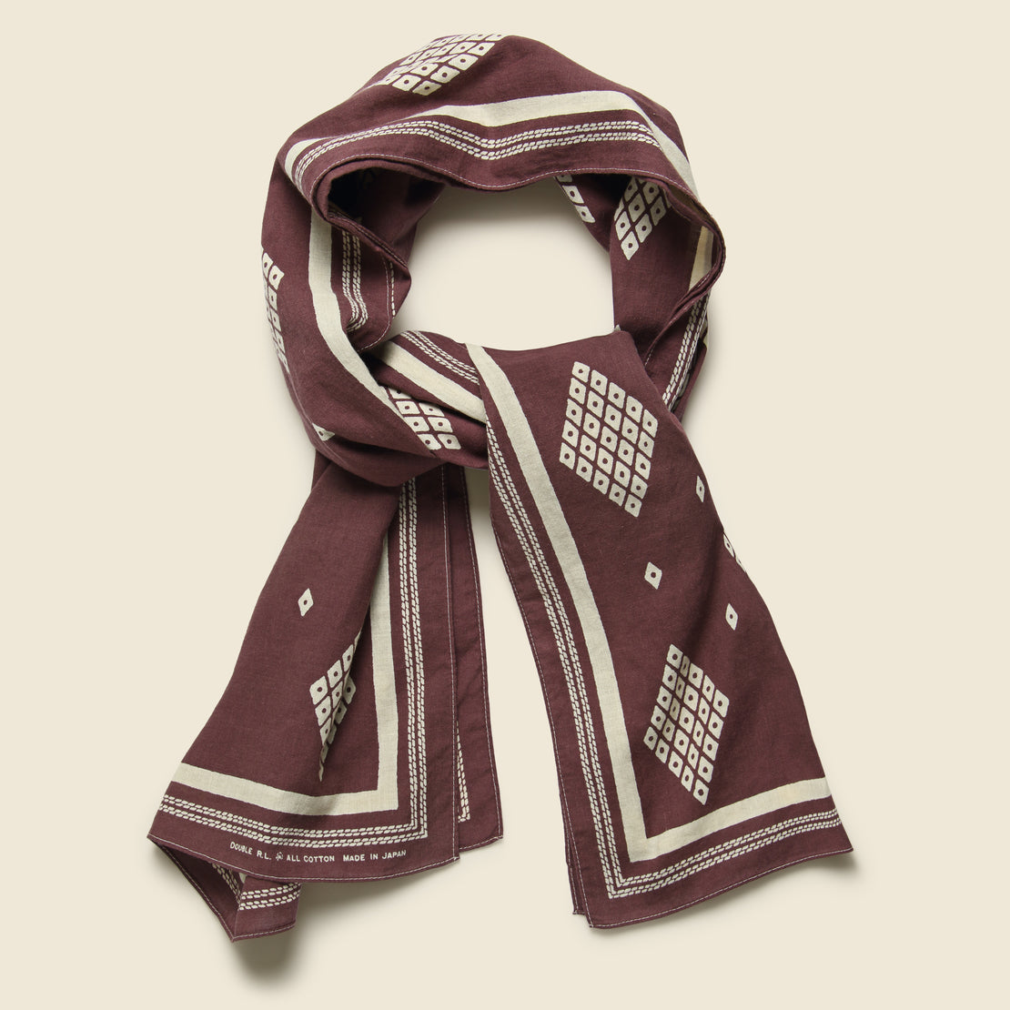 Bandana Scarf - Faded Burgundy/Cream