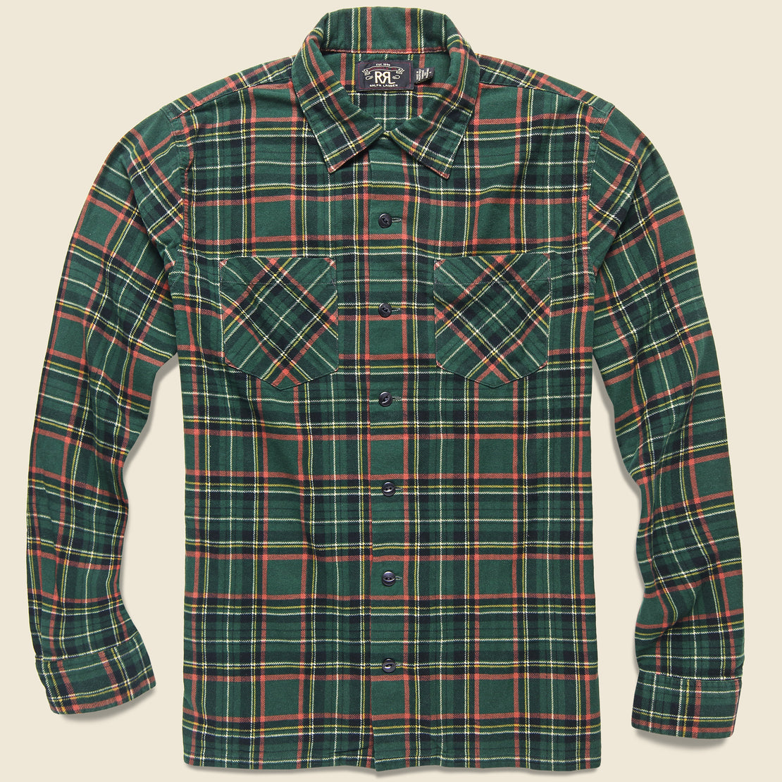 RRL Rodgers Flannel Overshirt - Green