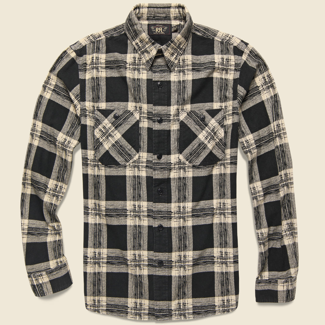 RRL Wallace Plaid Workshirt Flannel - Black/Cream