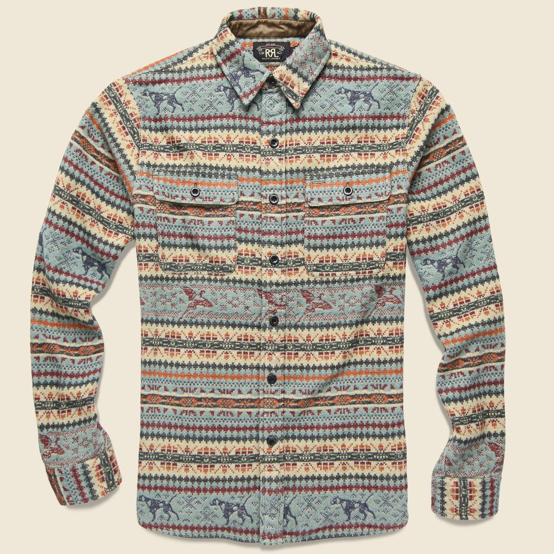 RRL Fair Isle Jacquard Workshirt - Blue