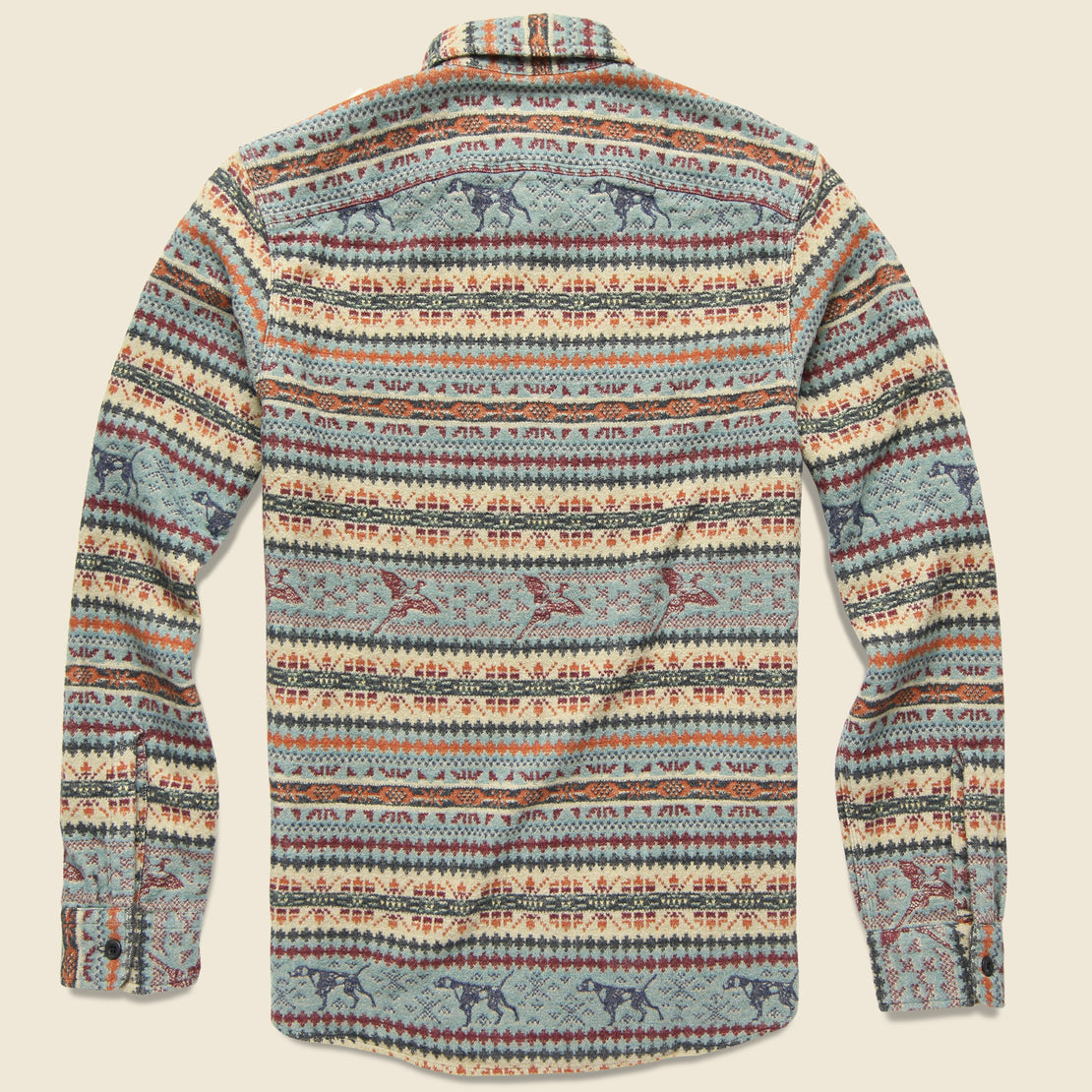 Fair Isle Jacquard Workshirt - Blue