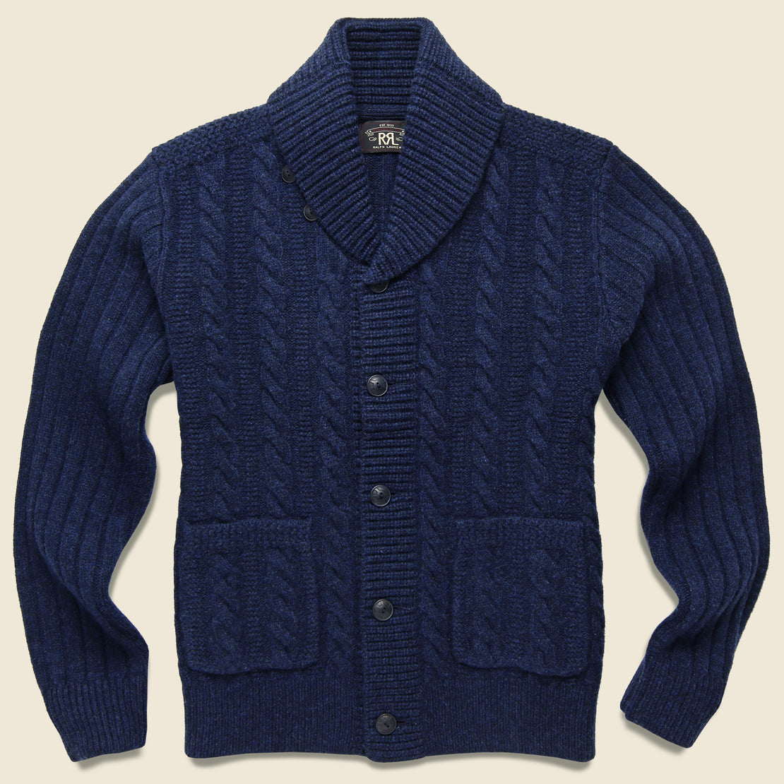 RRL Cable-Rib Wool Cardigan - Navy Heather