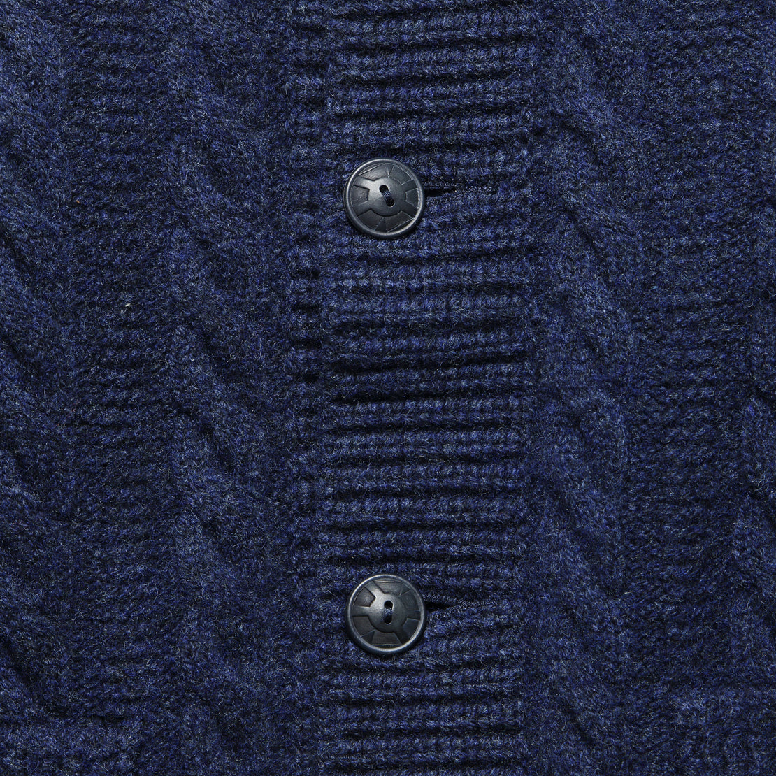 Cable-Rib Wool Cardigan - Navy Heather
