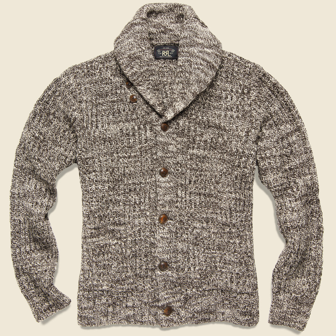 RRL Cotton Shawl-Collar Cardigan - Brown Cream Marl