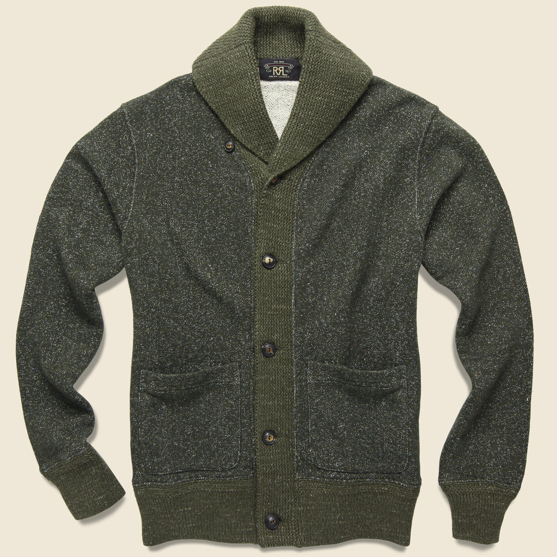 RRL Donegal Shawl Collar Sweater - Olive