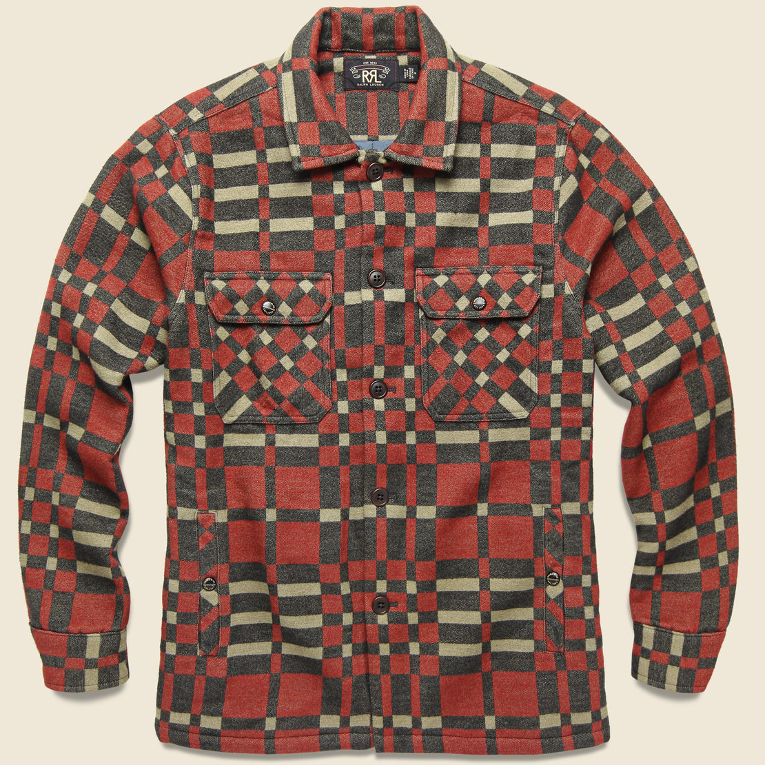 RRL Juno Jacquard Overshirt - Red/Black