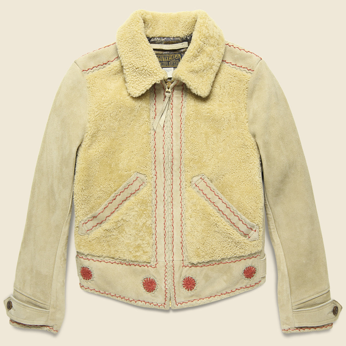RRL Williams Shearling Embroidered Suede Jacket - Cream