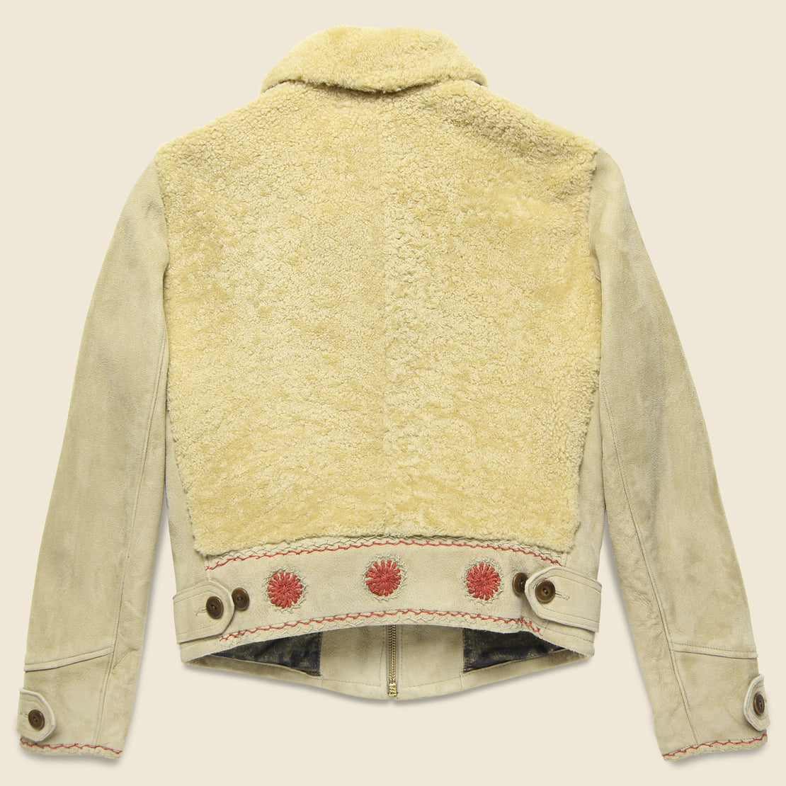 Williams Shearling Embroidered Suede Jacket - Cream