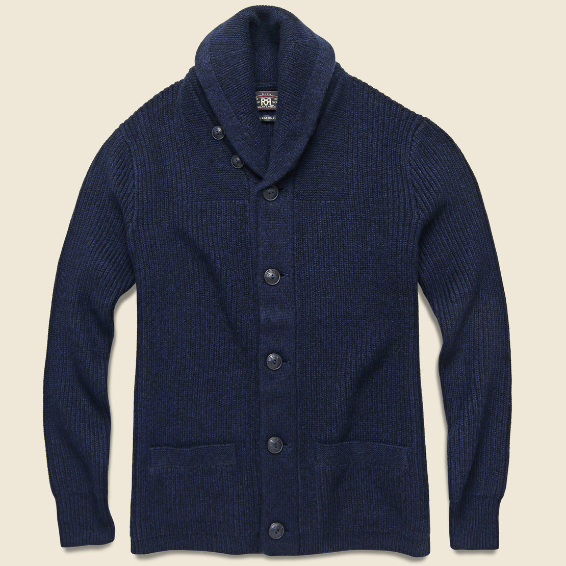 RRL Cashmere Shawl Cardigan - Blue Black