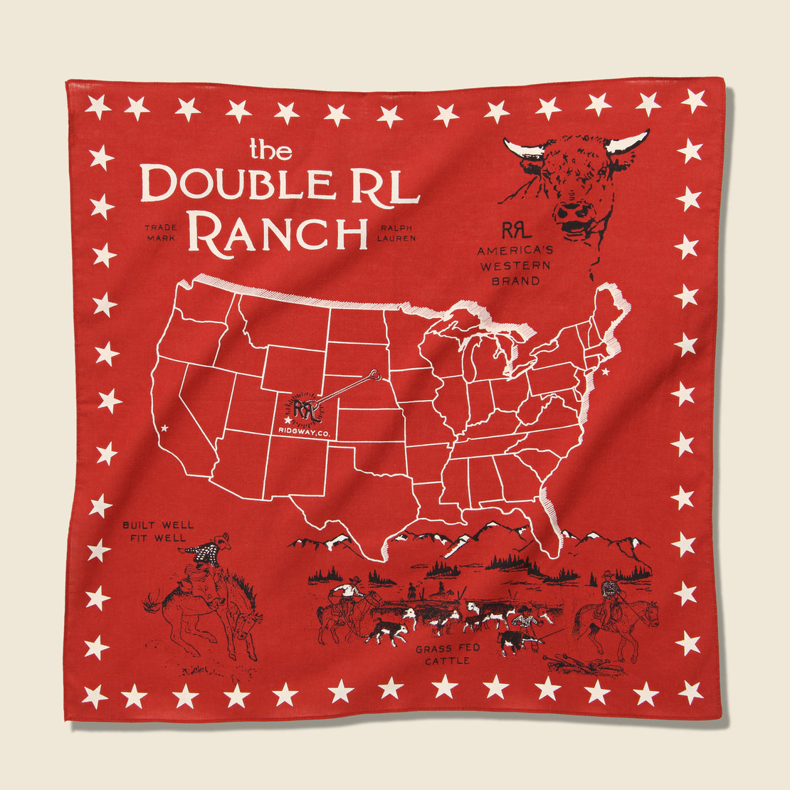 RRL Ridgeway Souvenir Bandana - Turkey Red/Griege/Black