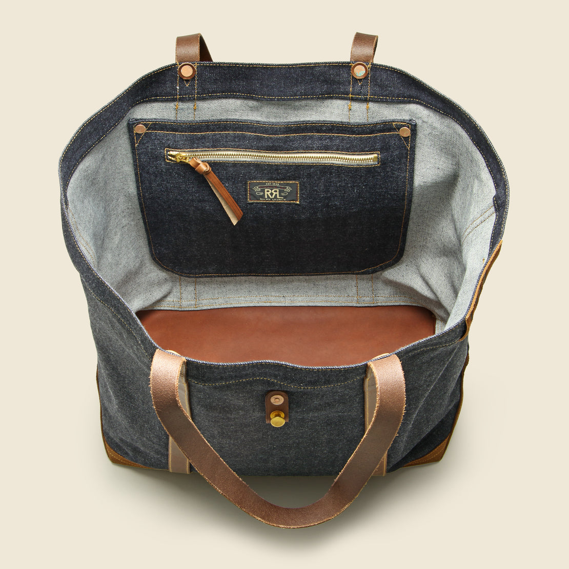 Howard Tote Bag - Denim/Leather