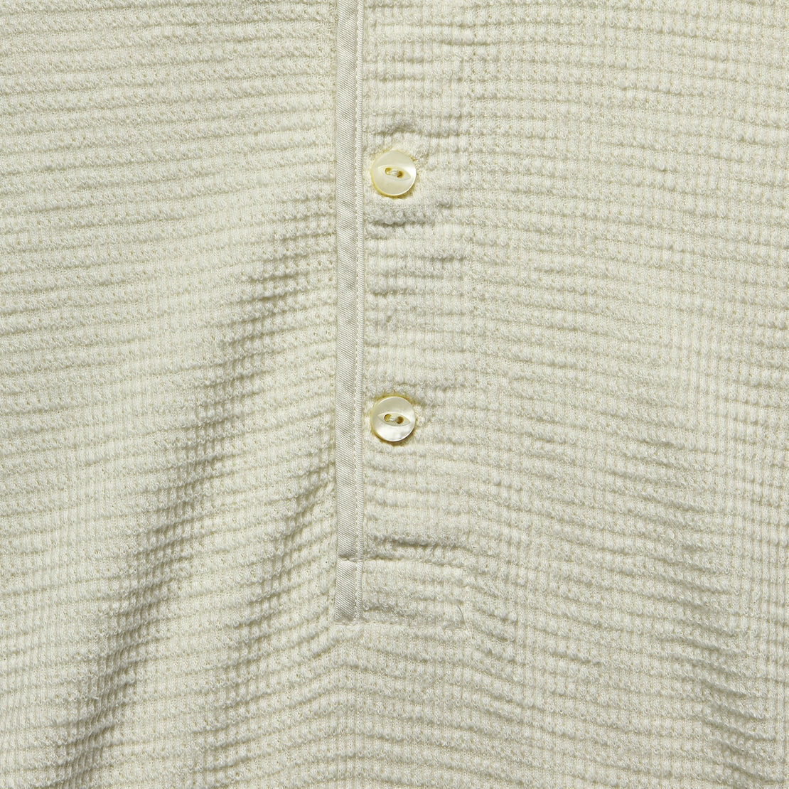Waffle Henley - Paper White